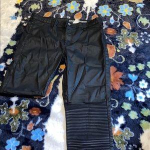 H&M black leather pants